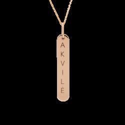 Graviruotas auksinis pakabukas vertikali plokštelė