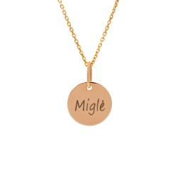 Graviruotas auksinis pakabukas medalionas