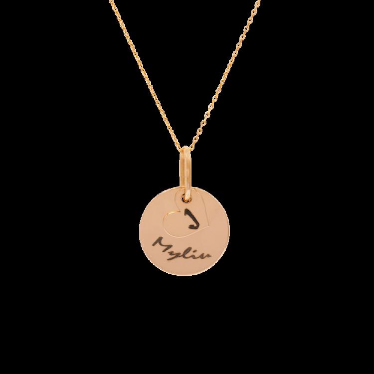 Graviruotas auksinis pakabukas medalionas su širdele
